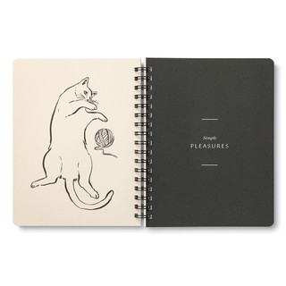 """Inside pages, cat themed, black and cream colored wire-o notebook, includes 3 breakout spreads, each with a unique design, this breakout spread features a cat playing with a ball of string, with the statement """"Simple pleasures"""""""