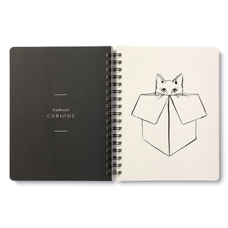 """Inside pages, cat themed, black and cream colored wire-o notebook, includes 3 breakout spreads, each with a unique design, this breakout spread features a cat peeking it's head from a box, with the statement """"Endlessly curious"""""""