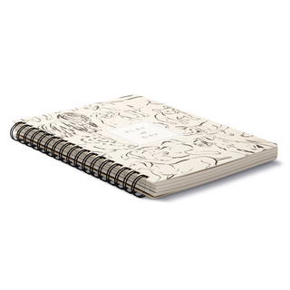 """3/4 view, dog themed, black and cream colored wire-o notebook, the cover features illustrations of joyful dogs with the statement """"Play all Day"""", illustrations include a variety of dog breeds, includes 3 breakout spreads, each with a unique design"""