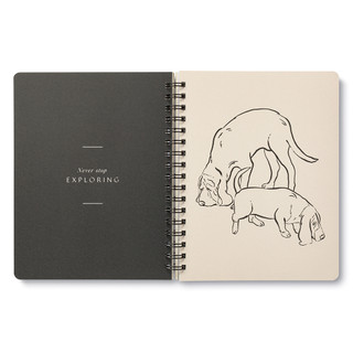 """Inside pages, dog themed, black and cream colored wire-o notebook, includes 3 breakout spreads, each with a unique design, this breakout spread features illustrations of two dogs sniffing with the statement """"Never stop exploring"""""""