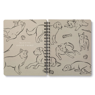 """Inside pages, dog themed, black and cream colored wire-o notebook, includes 3 breakout spreads, each with a unique design, this breakout spread features a napping dog with the statement """"Live your wild dreams"""""""