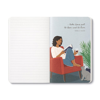 """Inside page, wine-themed journal with 8 breakout pages, each featuring a uniquely designed, vibrant illustration and sweet quote, celebrating life's simple pleasures and the people we share them with. This illustration features a woman reading on a chair, drinking a glass of red wine with cat nearby, quote featured """"...take time out to love and to live."""" -Daniel Goldwin"""