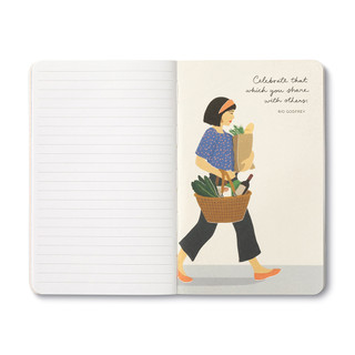 """Inside page, wine-themed journal with 8 breakout pages, each featuring a uniquely designed, vibrant illustration and sweet quote, celebrating life's simple pleasures and the people we share them with. This illustration features a woman walking with a basket filled with fresh food and a bottle of wine, quote featured """"Celebrate that which you share with others."""" -Rio Godfrey"""