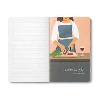 """Inside page, wine-themed journal with 8 breakout pages, each featuring a uniquely designed, vibrant illustration and sweet quote, celebrating life's simple pleasures and the people we share them with. This illustration features a woman chopping a tomato and greens with a glass of wine on the countertop, quote featured """"...feel the joy of life..."""" -Joyce Carol Oates"""