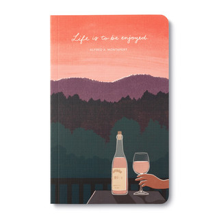 Front cover, wine-themed journal with 8 breakout pages, each featuring a uniquely designed, vibrant illustration and sweet quote, celebrating life's simple pleasures and the people we share them with