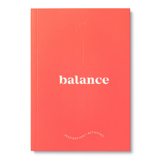 """Front cover, bright red softcover, activity journal, """"True Balance"""", a collection of exercises, prompts, vignettes, and quotes"""