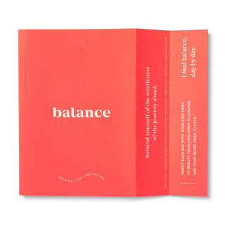"""Extended cover feature, includes bookmark, bright red softcover, activity journal, """"True Balance"""", a collection of exercises, prompts, vignettes, and quotes"""