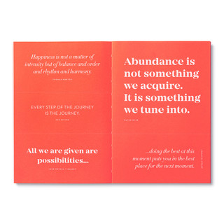 """Inside pages, bright red softcover, activity journal, """"True Balance"""", a collection of exercises, prompts, vignettes, and quotes"""