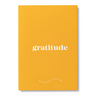 """Cover, bright orange softcover, activity journal, """"True Gratitude"""", a collection of exercises, prompts, vignettes, and quotes."""