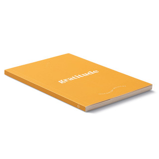 """Side view, bright orange softcover, activity journal, """"True Gratitude"""", a collection of exercises, prompts, vignettes, and quotes"""
