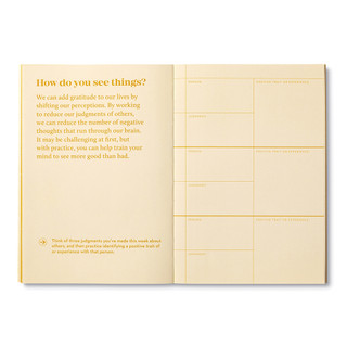 """Inside pages, activity journal, """"True Gratitude"""", a collection of exercises, prompts, vignettes, and quotes"""