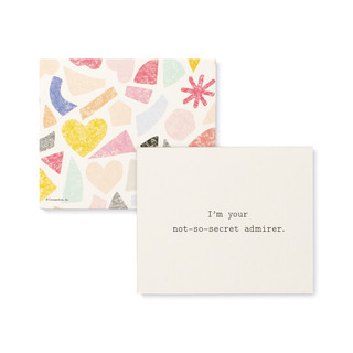 """Front and back view of one card, a playful set of compliment cards for someone special, bright and colorful sleeved box, features elegant gold foil stamping, includes 20 cards, each with a unique messages. Messages on this card is """"I'm your not-so-secret admirer"""""""