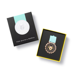 """Open box view, an award medal with a teal blue ribbon and an illustration that reads """"Dog Person"""", includes keepsake gift box, black slip cover with medal image in cover, medal sits securely in tray box"""