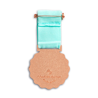 """Back side of medal, an award medal with a teal blue ribbon and an illustration that reads """"Dog Person"""", includes keepsake gift box, black slip cover with medal image in cover, medal sits securely in tray box"""