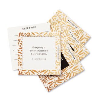 """View of multiple pop-open cards, """"Believe"""", gold and black design, 30 pop-open cards, each with a unqiue message inside, backside has space to write a note"""