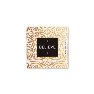 """Front view of a pop-open card, """"Believe"""", gold and black design, 30 pop-open cards, each with a unqiue message inside, backside has space to write a note"""