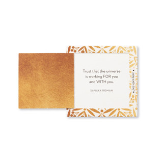 """Inside view of a pop-open card, """"Believe"""", gold and black design, 30 pop-open cards, each with a unqiue message inside, backside has space to write a note"""