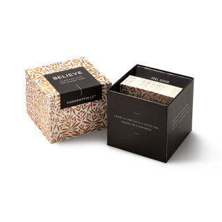 """View of open box and pop-open cards, """"Believe"""", gold and black design, 30 pop-open cards, each with a unqiue message inside, backside has space to write a note"""