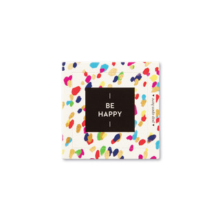 """Front view of a pop-open card, """"Be Happy"""", confetti, colorful design, 30 pop-open cards, each with a unique message inside, backside has space to write a note"""