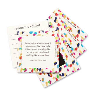 """View of multiple pop-open cards, """"Be Happy"""", confetti, colorful design, 30 pop-open cards, each with a unique message inside, backside has space to write a note"""