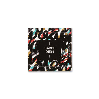 """Front view of a pop-open card, """"Carpe Diem"""", brigh colors with black, creative design, 30 pop-open cards, each with a unique message inside, backside has space to write a note"""