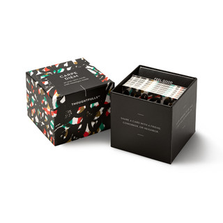 """View of open box and pop-open cards, """"Carpe Diem"""", brigh colors with black, creative design, 30 pop-open cards, each with a unique message inside, backside has space to write a note"""