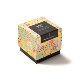 """Side view of box, """"Happy Day"""", coloful, cheery design, 30 pop-open cards, each with a unique message inside, backside has space to write a note"""