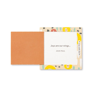 """Inside view of a pop-open card, """"Happy Day"""", coloful, cheery design, 30 pop-open cards, each with a unique message inside, backside has space to write a note"""