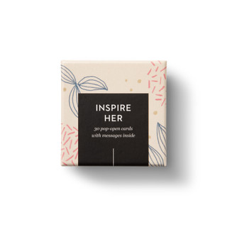 """Top view of box, """"Inspire Her"""", beautiful pink, blue and biege floral design, 30 pop-open cards, each with a unique message inside, backside has space to write a note"""