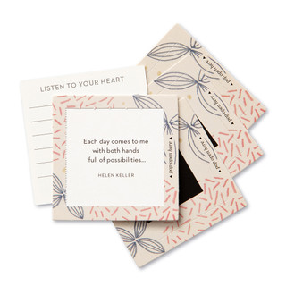 """View of multiple pop-open cards, """"Inspire Her"""", beautiful pink, blue and biege floral design, 30 pop-open cards, each with a unique message inside, backside has space to write a note"""