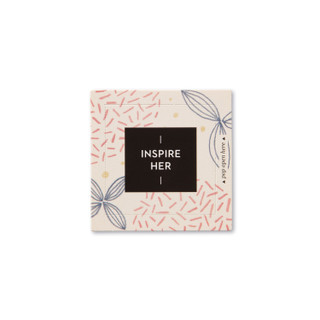 """Front view of a pop-open card, """"Inspire Her"""", beautiful pink, blue and biege floral design, 30 pop-open cards, each with a unique message inside, backside has space to write a note"""