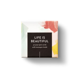 """Top view of box, """"Life is Beautiful"""", beautiful spring color design, 30 pop-open cards, each with a unique message inside, backside has space to write a note"""