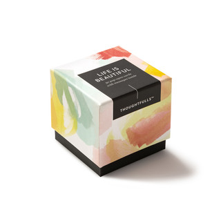 """Side view of box, """"Life is Beautiful"""", beautiful spring color design, 30 pop-open cards, each with a unique message inside, backside has space to write a note"""