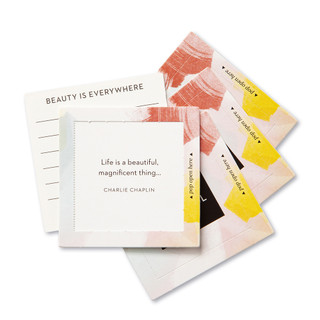 """View of multiple pop-open cards, """"Life is Beautiful"""", beautiful spring color design, 30 pop-open cards, each with a unique message inside, backside has space to write a note"""