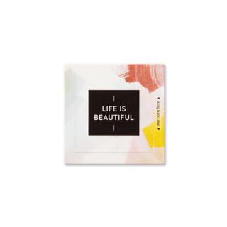 """Front view of a pop-open card, """"Life is Beautiful"""", beautiful spring color design, 30 pop-open cards, each with a unique message inside, backside has space to write a note"""
