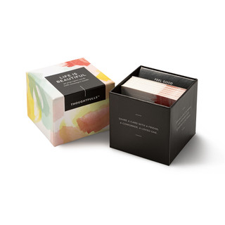 """View of open box and pop-open cards, """"Life is Beautiful"""", beautiful spring color design, 30 pop-open cards, each with a unique message inside, backside has space to write a note"""
