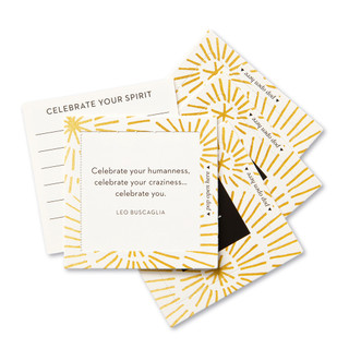 """View of multiple pop-open cards, """"Shine"""", gold burst, sunshine design, 30 pop-open cards, each with a unique message inside, backside has space to write a note"""