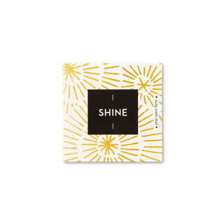 """Front view of a pop-open card, """"Shine"""", gold burst, sunshine design, 30 pop-open cards, each with a unique message inside, backside has space to write a note"""