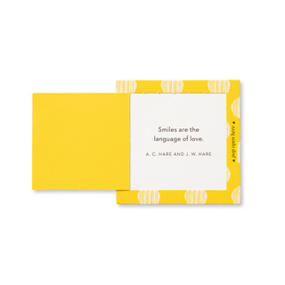 """Inside view of a pop-open card, """"Smile"""", bright, yellow, fun design, 30 pop-open cards, each with a unique message inside, backside has space to write a note"""