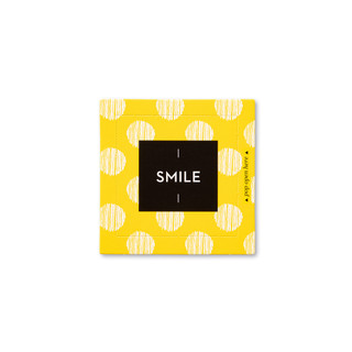 """Front view of a pop-open card, """"Smile"""", bright, yellow, fun design, 30 pop-open cards, each with a unique message inside, backside has space to write a note"""