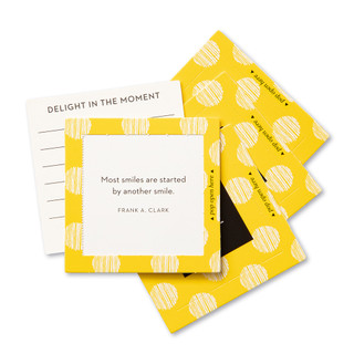 """View of multiple pop-open cards, """"Smile"""", bright, yellow, fun design, 30 pop-open cards, each with a unique message inside, backside has space to write a note"""