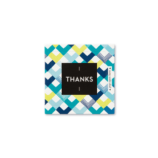 """Front view of a pop-open card, """"Thanks"""", blue, yellow, chevron design, 30 pop-open cards, each with a unique message inside, backside has space to write a note"""