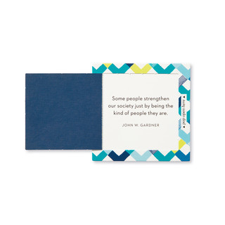 """Inside view of a pop-open card, """"Thanks"""", blue, yellow, chevron design, 30 pop-open cards, each with a unique message inside, backside has space to write a note"""