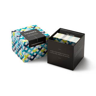 """View of open box and pop-open cards, """"Thanks"""", blue, yellow, chevron design, 30 pop-open cards, each with a unique message inside, backside has space to write a note"""