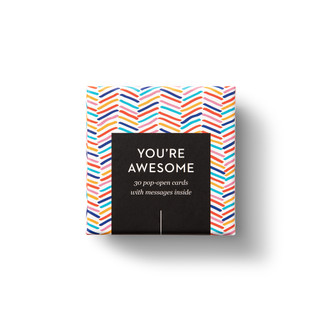 """Top view of box, """"You're Awesome"""", fun, bright, colorful design, 30 pop-open cards, each with a unique message inside, backside has space to write a note"""