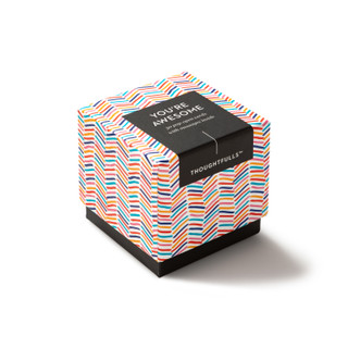 """Side view of box, """"You're Awesome"""", fun, bright, colorful design, 30 pop-open cards, each with a unique message inside, backside has space to write a note"""