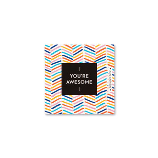 """Front view of a pop-open card, """"You're Awesome"""", fun, bright, colorful design, 30 pop-open cards, each with a unique message inside, backside has space to write a note"""