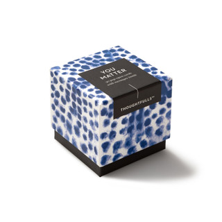 """Side view of box, """"You Matter"""", blue and white elegant design, 30 pop-open cards, each with a unique message inside, backside has space to write a note"""