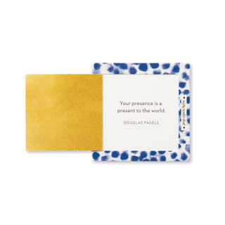"""Inside view of a pop-open card, """"You Matter"""", blue and white elegant design, 30 pop-open cards, each with a unique message inside, backside has space to write a note"""