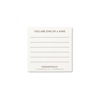 """Backside view of a pop-open card, """"You Matter"""", blue and white elegant design, 30 pop-open cards, each with a unique message inside, backside has space to write a note"""